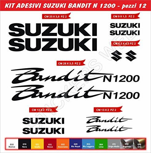 Pimastickerslab Aufkleber für Suzuki Bandit N1200 N-1200 12-teiliges Set - Farbe - Motorrad Motorbike Code 77, Nero Cod. 070