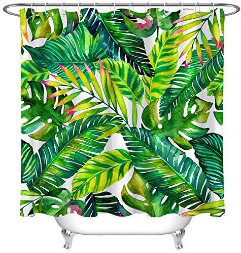 LB Tropische Pflanzen Duschvorhang Anti Schimmel Wasserdicht Grün Blätter Bad Vorhang Weiß Polyester Badezimmer Vorhäng mit Haken,150x180cm