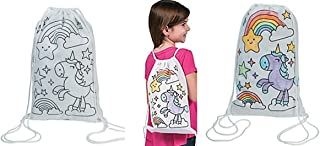 Fun Express 12 Decorate - color Your Own UNICORN Canvas Drawstring Backpack tote Bags