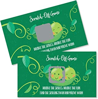 Big Dot of Happiness Double the Fun - Twins Two Peas in a Pod - Baby Shower or First Birthday Party Game Scratch Off Cards - 22 Count