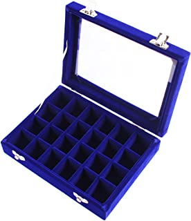 Niome 24 Grids Girls Velvet Glass Jewelry Box Ring Earrings Display Organizer Holder Storage Case Royal Blue