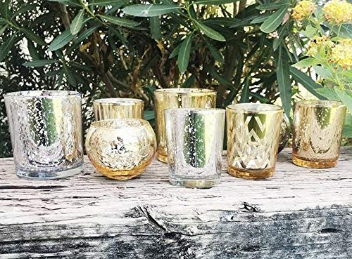 Just Artifacts Silver and Gold 8pcs Assorted Mercury Glass Votive Tealight Candle Holder Set