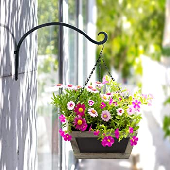 AJART Hanging Plant Bracket for Plant Hangers Outdoor (2 PCs - 12 inches) More Stable and Sturdy Black Plant Hooks