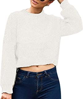 Womens Basic Plain Round Neck Long Sleeve Knit Crop Top Sweater Jumper