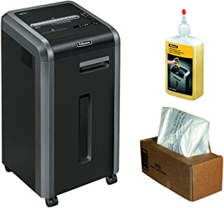 Fellowes 3825001 Powershred 225Ci 100% Jam Proof 22-Sheet Cross-Cut Shredder Performance Bundle with Waste Bags and Oil