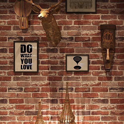 ZH HOME Tapeten Selbstklebend wasserfest Wandtapete Klebefolie 3d Backstein Papier, wasserdicht, PVC, ohne Klebstoff, 0,53x10m-Retro braun rot 57104