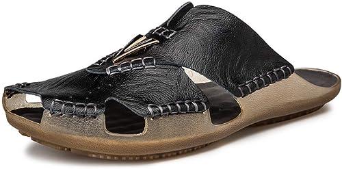 Yydt Chaussures pour Hommes Sports de Plein air Pantoufles d'été Sandales en Cuir Plage Baotou Tow Wear Leather Sandales et Pantoufles Chaussures pour Hommes (Couleur   41 EU)