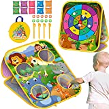 Bean Bag Toss Game Toys for Kids, Outdoor Beach Toys Double-Sided Foldable Animal Cornhole Board for Toddler Age 3 4 5 6 7 8 Years Old, Outside Yard Lawn Backyard Party Game Gifts for Boys and Girls