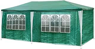 Hengda Pavillon 3 x 6 m mit 6 Seitenteilen und 2 Eingängen Gartenzelt, Material 100% PE-Plane Gartenpavillon Partyzelt Grün