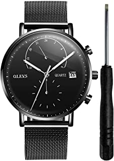 OLEVS 【Upgrade Version 】Men's Fashion Watch 24h Calendar Timer Waterproof Quartz Watch with Luminous Analog Display Wrist Watches with Classic Mesh Strap and Free Small Watch Tools