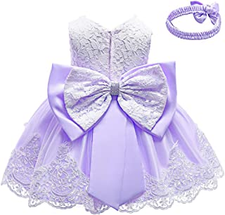 KISSOURBABY Toddler Baby Girls Formal Lace Dress Birthday Dress Baptism Christening Wedding Party Flower Dress with Headwear 0-24 Months