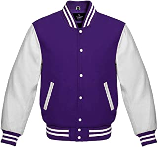 Varsity Jacket for Baseball Letterman Bomber School of Purple Wool and Genuine White Leather Sleeves