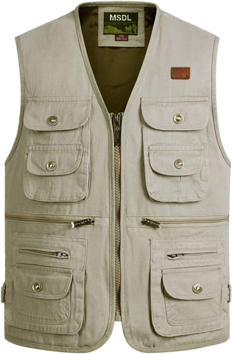 Outdoor Leisure Fishing Vest,Sport Photography Vests, Middle-Aged and Elderly Men's Cotton Clothing,5,XL