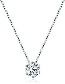 925 Sterling Silver 1ct Cubic Zirconia Solitaire Necklace, Cubic Zirconia Created Diamond Necklace, Dainty Floating Solitaire Necklace For Women, Perfect For Mothers Day, Borthday and Christmas
