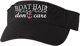 Go All Out Adult Boat Hair Don't Care Embroidered Visor Dad Hat
