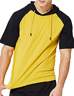 DUOFIER Men's Casual Hoodie Swearshirt Tops Short Sleeve Shirts Gym Workout with Adjustable Drawstring