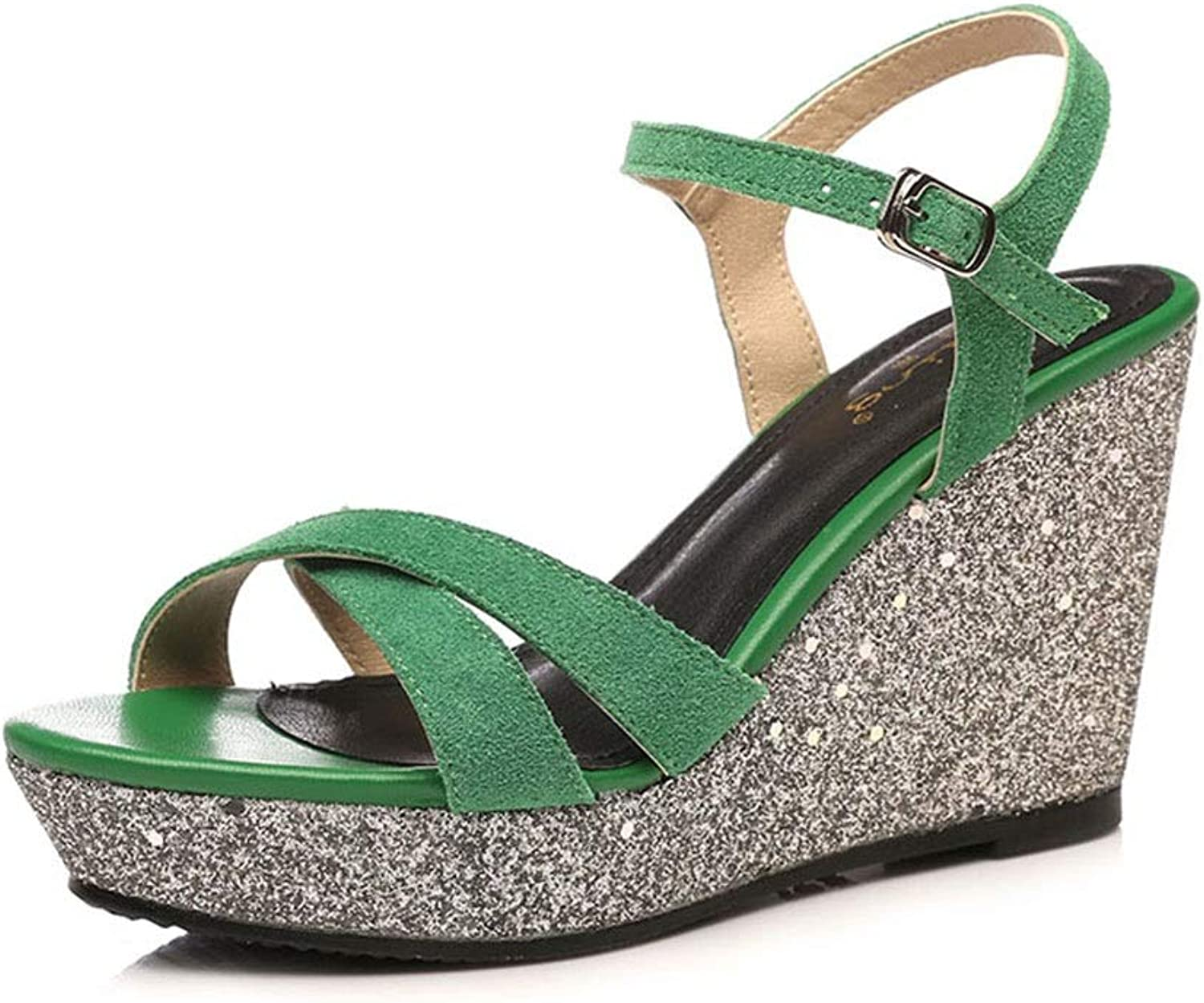 Sandals Women's shoes Sandals Summer Wedges Sequins Women's Sandals Matte Leather Sexy Fashion Small Size Women's shoes, Heel Height 9 cm (color   Green, Size   38)