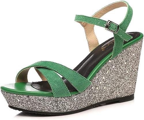 Chaussures Femme Sandales Compensée d'été d'été d'été Paillettes Sandales Femme Cuir Mat Sexy à la Mode Chaussures pour Femmes de Petite Taille, Hauteur de Talon 9 cm 0df