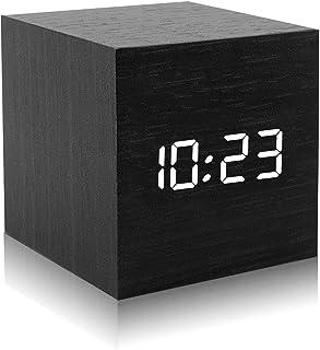 DASIAUTOEM Réveil Numérique LED, Horloge en Bois Réveil de Chevet, Alarm Réveil LED avec Fonction Snooze,Contrôle Sonore,L...