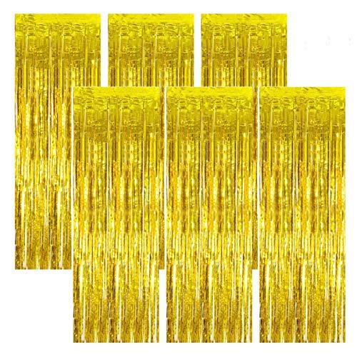 Netspower Lametta Vorhänge Lametta Vorhang Glitzer 1x2m, 6Pcs Folienvorhänge Fransen Tinsel Vorhänge Party Hintergrund Folien Glitzervorhang für Geburtstag Hochzeit Weihnachten Party Dekor