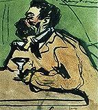 Pablo Picasso Caricature of Joaquim Mir 1899 c28554 A0 Poster on Canva - Material de lona plano, enrollado, sin marco (40/33 inch)(119/84 cm) - Película Película Decoración de pared Arte Actor Actri