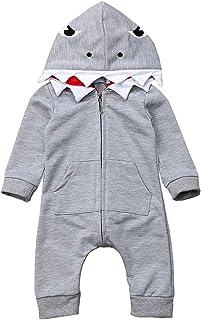 Newborn Infant Baby boy Girl Cartoon Shark Long Sleeve Hooded Jumpsuit Bodysuit Romper Zipper Outfit