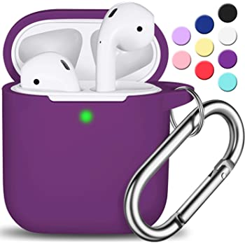 AirPods Case Cover with Keychain, R-fun Full Protective Silicone AirPods Accessories Skin Cover for Women Girl with Apple AirPods Wireless Charging Case,Front LED Visible-Plum/Purple