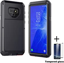 Tempered Glass+Full Protective Luxury Doom Armor Metal Case Shockproof Cover for Samsung S7 S8 S10 S10Plus S9 S9Plus Note8 Note9 (Black, Note 9)