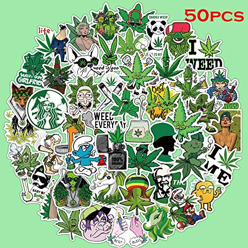 YYSDD Cartoon Cannabis Leaf Series Aufkleber Wasserdichter PVC-Aufkleber für Laptop-Helm Fahrradgepäck Gitarre Telefon Fall 50Pcs