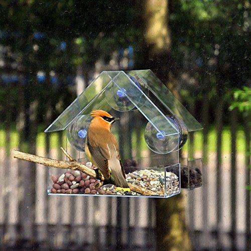 GHHG Clear Glass Window Viewing Bird Feeder Hotel Tafel Zaad Pinda Opknoping Zuig Met Feed Tray - 15x6.2x15cm