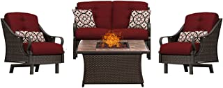 Hanover VEN4PCFP-RED-TN 4 Piece Ventura Fire Pit Chat Set in Crimson Red Outdoor Furniture, Stone Top