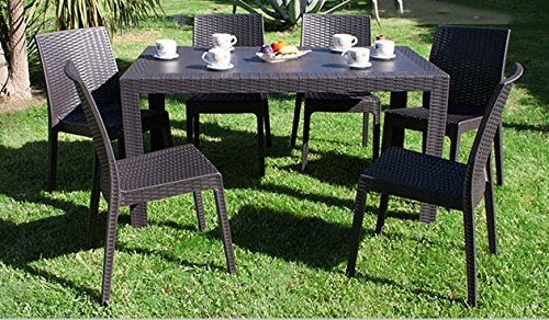 DIMAPLAST Set Garden Tavolo e 6 Sedie da Giardino Antracite
