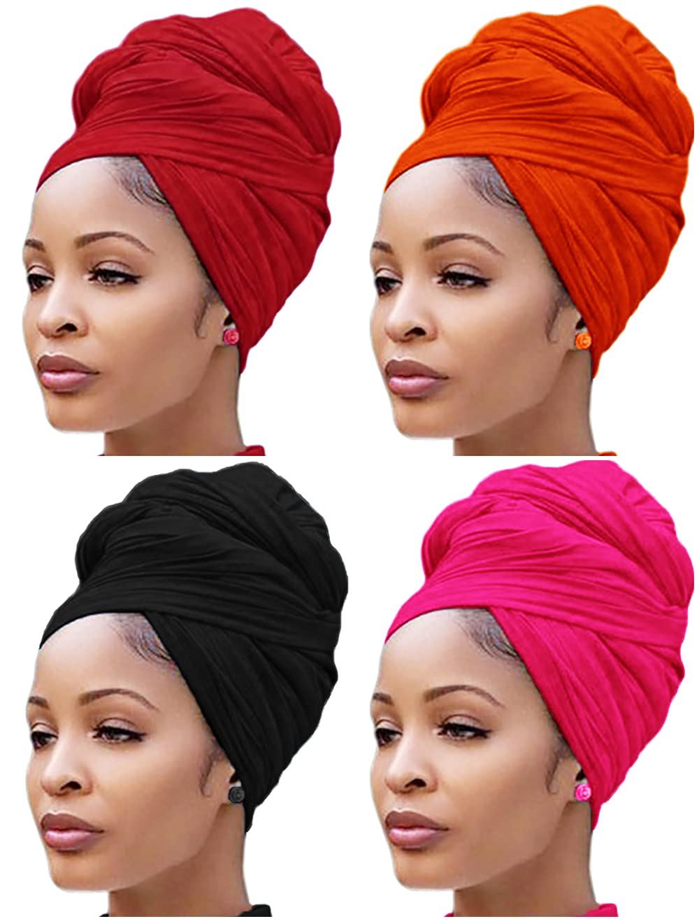 Nonbongoy 4 PCS Head Wrap Scarf Women Stretch Al sold out. Max 72% OFF Hair Tu Tshirt for