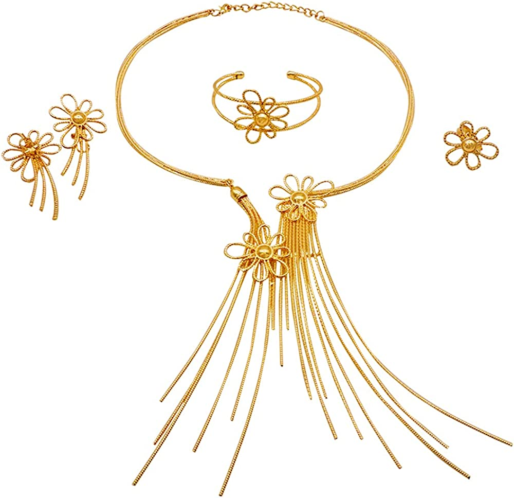 African Women Big Jewelry Sets 18K Gold Plated Wedding Party Necklace Bracelet Earrings Ring
