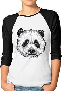 DonSir Pixel Panda Women 3/4 Sleeve Raglan Tshirt Black