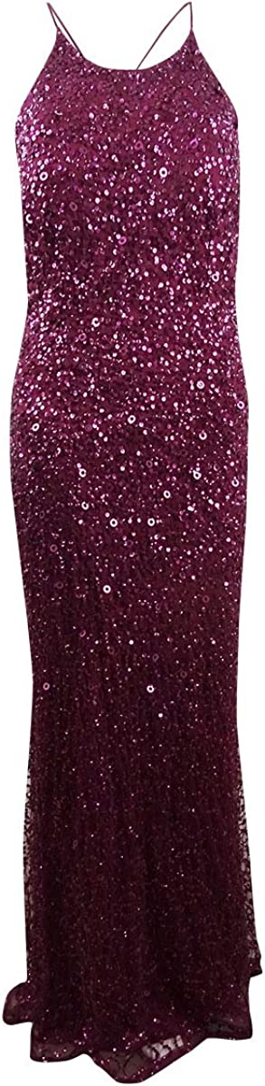 Adrianna Papell Women's Sequined Train Gown (10, Black Cherry)