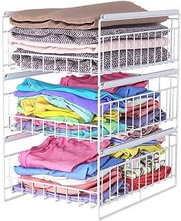 Porte manteau Panier de rangement pour penderie de chambre à coucher, Tiroir multifonction Stockage de vêtements de garde-...