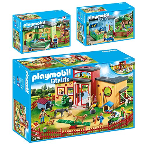 PLAYMOBIL® City Life 3er Set 9275 9276 9277 Tierhotel Pfötchen + Katzenpension + Kleintierpension