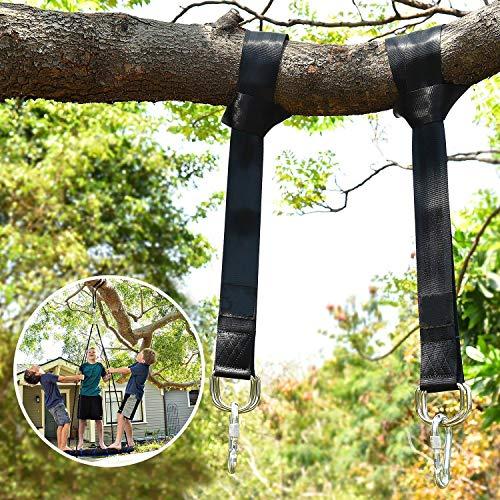 Wilbest 1 paar swing hangende riem set, schommelbevestiging hangmat hangstoel waterdicht, bijpassende bevestigingsbanden max. 450 kg met 2 heavy haak karabijnhaak voor tuin camping reistrand (1,5 m)