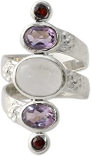 NOVICA Multi-Gem Moonstone .925 Sterling Silver Artisan Ring, Spiral Enchantment'
