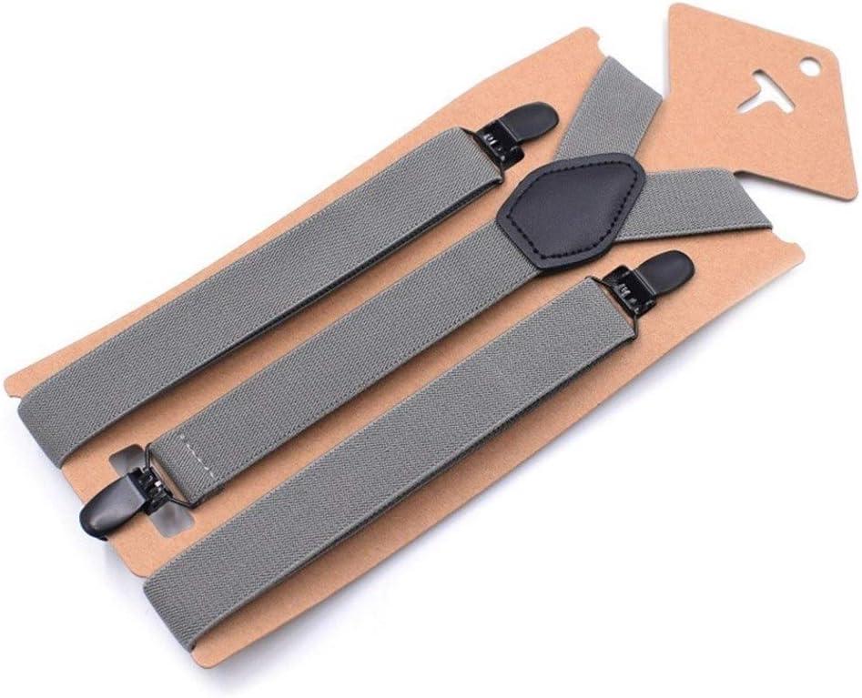 Suspenders Girl's Braces Set Black Leather Male Vintage Casual Trousers Strap Fashion Suspenders Comfortable (Color : Dark Grey)