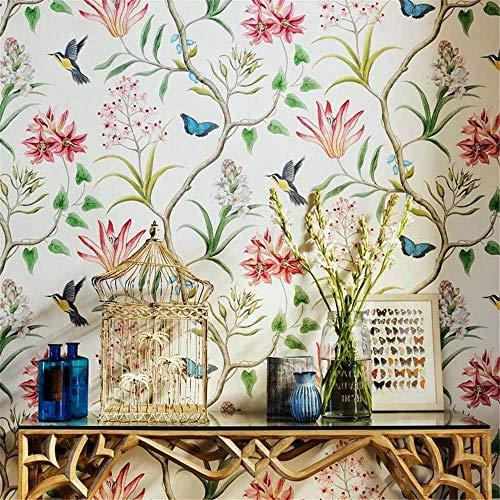 3D Tapeten Wandtapete, Blumen- und Vogeltapete, frische ländliche Landschaftstapete, Vliestapete, TV-Hintergrundtapete für Schlafzimmer und Wohnzimmer, 0,53 x 10 m (Beige)