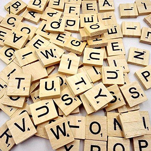 Saniswink Buchstaben-Fliesen, aus Holz, für Bastelarbeiten, Scrabble, 100 Stück, holz, Capital Letter, Einheitsgröße