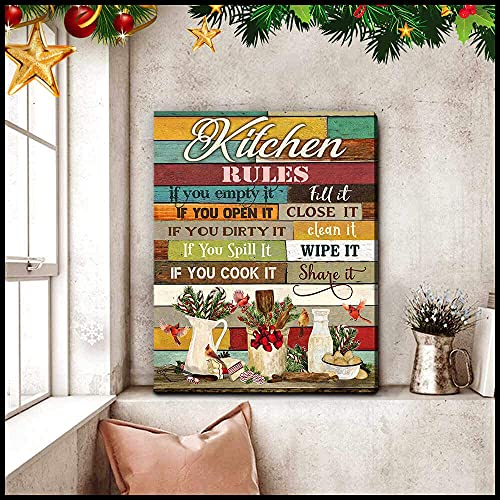 Pintura sobre lienzo de reglas de cocina, lienzo estirado, listo para colgar para sala de estar, dormitorio, oficina, decoración moderna de pared, pósteres, obras de arte, 40 x 60 cm