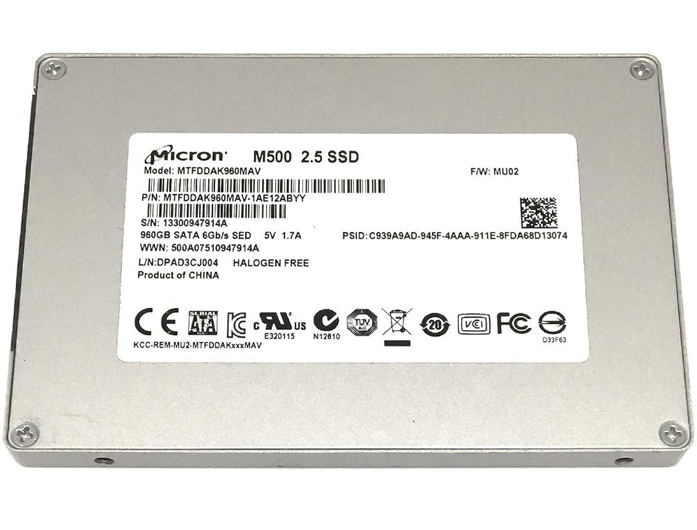 有名不和天皇Micron M500 960GB 2.5インチ SATA III MLC (6.0Gb/s) 内蔵ソリッドステートドライブ (SSD) (MTFDDAK960MAV)