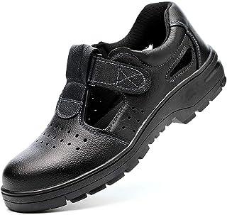 ZYFXZ Noir Litchi travail embosser Chaussures imperméables Toe en acier en cuir Cap été creux Sandales for hommes (Taille ...