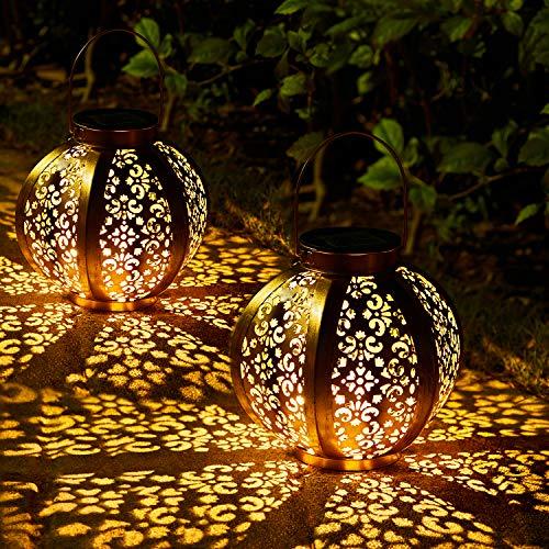 2 Pack Lanterna Solare da Giardino, OxyLED Lampada Solare da Giardino Lanterna Appendibile Impermeabile IP44 LED Illuminazione Solare del Paesaggio Decorativa Bianca Calda per la Via del Cortile Patio