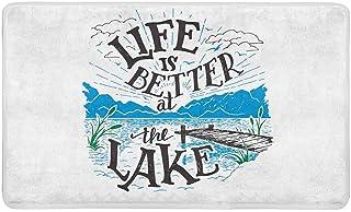 InterestPrint Vintage Lake House Decor Life is Better at The Lake Doormat Indoor Outdoor Entrance Rug Floor Mats Shoe Scra...