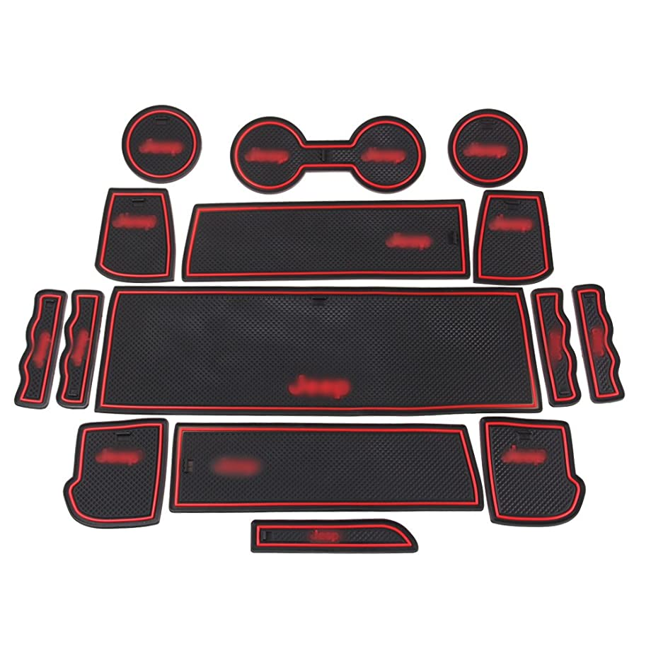 ROCCS 15PCS RED Anti-dust Interior Non-Slip Mat Door Mat Cup Pad Floor Holder Mats with Logo for 2011 2012 2012 2014 2015 Jeep Compass 2017 Patriot (Red-Logo)