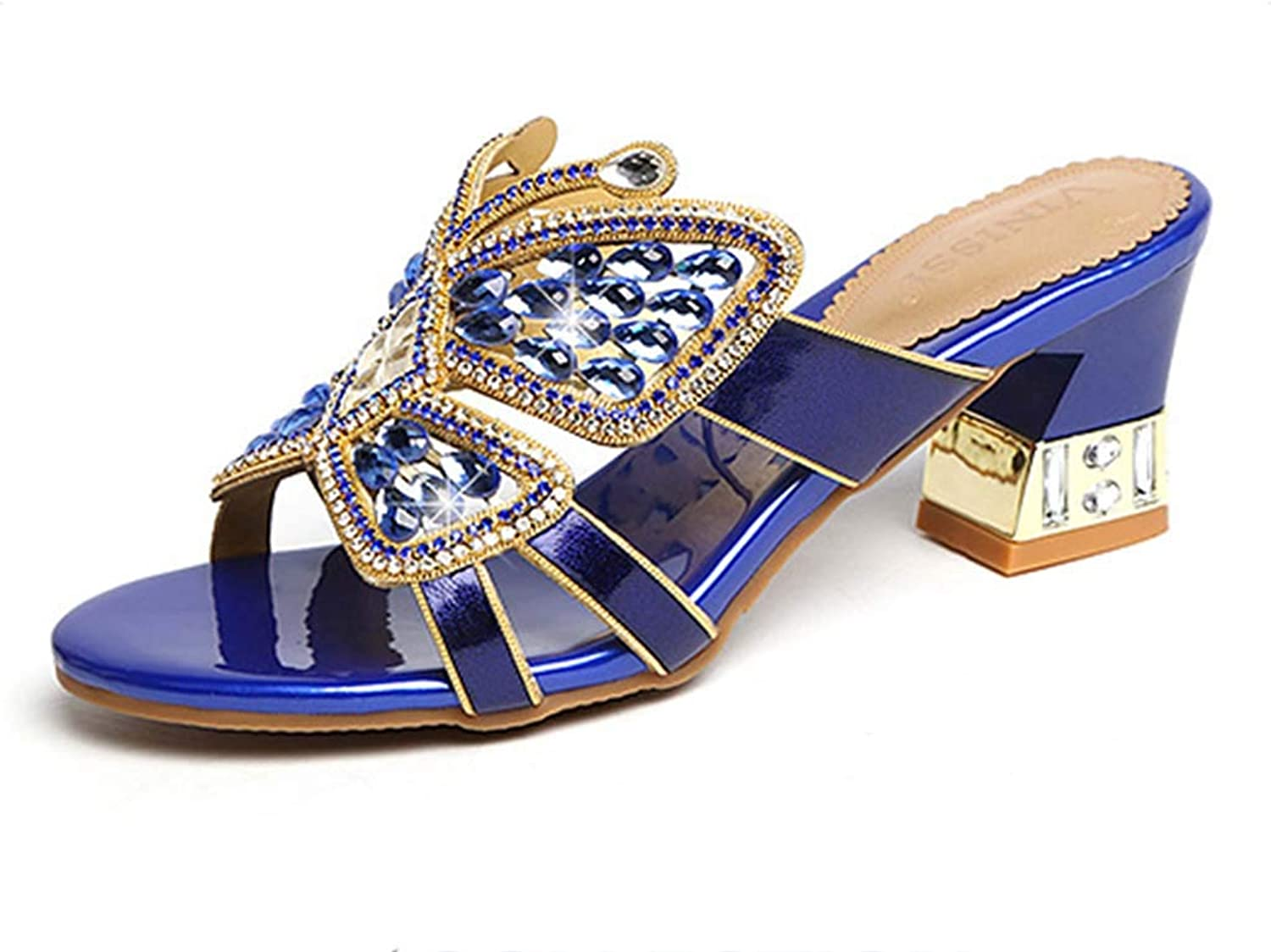 Women's Slippers Rhinestone Leather Fashion Roman shoes Thick with a high-Heeled Sandals wear Summer